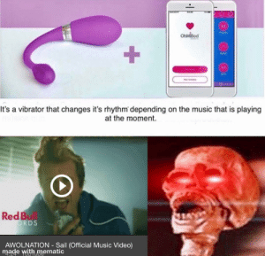 SAIL: TOUCH  OhMiBod  +  WAVE  Piay l  WIFI  DG AN O  It's a vibrator that changes it's rhythm depending on the music that is playing  at the moment.  Red Bull  ORDS  AWOLNATION Sail (Official Music Video)  made with mematic  TOGTUe  4.24 SAIL