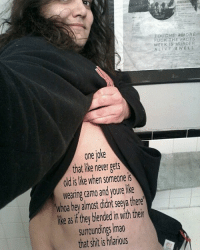 New tattoo just got: TOUCHE AMORE  FUCK THE FACTS  IS MURDER  LIVE WELL  one IOKe  that like never gets  old is like when someone is  wearing camo and youre like  Whoa hey almost didnt Seeya there  ike as if they blended in with their  SurroundingS lmao  that shit is hilarious New tattoo just got