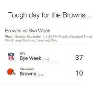 I would love to see a 08 Lions vs 2016 Browns matchup. Probably would end in a tie... @funniestnflmemez: Tough day for the Browns...  Browns vs Bye Week  Final Sunday, December 4, 4:25 PM (Pacific Standard Time)  FirstEnergy Stadium, Cleveland, Ohio  NFL  NFL Bye Week  37  13-0  Cleveland  10  Browns  0-13 I would love to see a 08 Lions vs 2016 Browns matchup. Probably would end in a tie... @funniestnflmemez