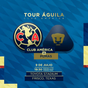 #HoyJugamos 🦅 América vs Pumas  📅 9 julio  ⏰ 19:30 hrs 🏟️ Toyota Stadium 📍 Frisco, TX 📺 TDN: TOUR AGUILA  C LUB A MERICA  CLUB AMÉRICA  VS  PUMAS  9 DE JULIO  19:30  HORARIO LOCAL  HORARIO CDMX  TOYOTA STADIUM  FRISCO, TEXAS #HoyJugamos 🦅 América vs Pumas  📅 9 julio  ⏰ 19:30 hrs 🏟️ Toyota Stadium 📍 Frisco, TX 📺 TDN