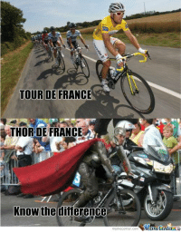 Memes, Tour De France, and France: TOUR DE FRANCE  THOR DE FRANCE  Know the difference  Munetenler See the difference?