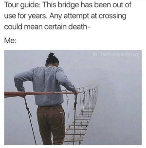Death, Mean, and Been: Tour guide: This bridge has been out of  use for years. Any attempt at crossing  could mean certain death-  Me:  rove