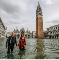Tourists had to wade through water to see the sights in Venice, Italy due to the exceptional level of the 'acqua alta' or 'High Tide' that reached 156 cm. Venetian schools and hospitals were closed by the authorities, and citizens were advised against leaving their homes. Photo: Stefano Mazzola-Awakening-Getty Images venice italy flood water sinking tourists: Tourists had to wade through water to see the sights in Venice, Italy due to the exceptional level of the 'acqua alta' or 'High Tide' that reached 156 cm. Venetian schools and hospitals were closed by the authorities, and citizens were advised against leaving their homes. Photo: Stefano Mazzola-Awakening-Getty Images venice italy flood water sinking tourists