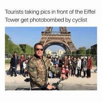 Memes, Rude, and Eiffel Tower: Tourists taking pics in front of the Eiffel  Tower get photobombed by cyclist So freakin rude