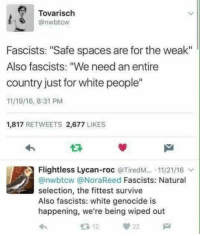 """White People, White, and Spaces: Tovarisch  @nwbtcw  Fascists: """"Safe spaces are for the weak""""  Also fascists: """"We need an entire  country just for white people""""  11/19/16, 8:31 PM  1,817 RETWEETS 2,677 LIKES  Flightless Lycan-roc @TiredM...-11/21/16 ﹀  @nwbtcw @NoraReed Fascists: Natural  selection, the fittest survive  Also fascists: white genocide is  happening, we're being wiped out"""
