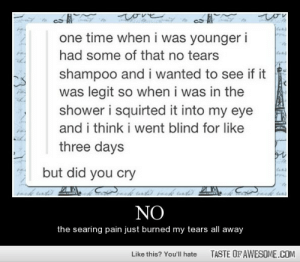 Nohttp://omg-humor.tumblr.com: tove  heionicom  ton  chei  one time when i was younger i  had some of that no tears  shampoo and i wanted to see if it  was legit so when i was in the  shower i squirted it into my eye  and i think i went blind for like  three days  but did you cry  NO  the searing pain just burned my tears all away  TASTE OF AWESOME.COM  Like this? You'll hate Nohttp://omg-humor.tumblr.com