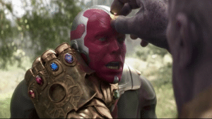 Towards the end of Avengers: Infinity War, Thanos can be seen ripping the stone from Vision's head. This is a clever nod to the fact that Thanos needed all six stones to complete his final goal.: Towards the end of Avengers: Infinity War, Thanos can be seen ripping the stone from Vision's head. This is a clever nod to the fact that Thanos needed all six stones to complete his final goal.