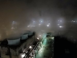 Tumblr, Blog, and Media: towerofglass: sail2live2: Not unusual to have fog near an air cooled condenser.