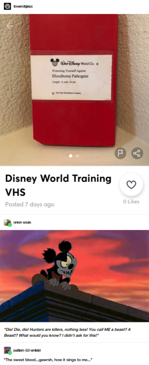 "Where's that one photo of the Disney gas masks?: towerofglass  WACF DENEP World Co.  Protecting Yourself Against  Bloodborne Pathogens  Length: 11 min. 30 sec  1994 The Wah Diney Company  Disney World Training  VHS  O Likes  Posted 7 days ago  onion-souls  ""Die! Die, die! Hunters are killers, nothing less! You call ME a beast? A  Beast!? What would you know? I didn't ask for this!""  pattem-53-enield  ""The sweet blood...gawrsh, how it sings to me..."" Where's that one photo of the Disney gas masks?"