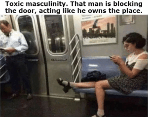 Men need to start respecting women!: Toxic masculinity. That man is blocking  the door, acting like he owns the place.  EACOLY Men need to start respecting women!