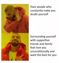 Dank, Family, and Friends: Toxic people who  constantly make you  doubt yourself  Tumblri@Dank  Surrounding yourself  with supportive  friends and family  that love you  unconditionally and  want the best for you
