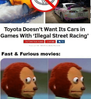 Paul Walker is rolling in his grave: Toyota Doesn't Want Its Cars in  Games With 'Illegal Street Racing'  AUTOMOTIVE NEwS  GAMING  7B  Fast & Furious movies: Paul Walker is rolling in his grave