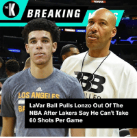 """TOYOTA  K BREAKING  THE  LOS ANGELES  LaVar Ball Pulls Lonzo Out Of The  NBA After Lakers Say He Can't Take  60 Shots Per Game  BA """"Blame the coaches."""" — LaVar Ball. #BreakingNews"""