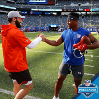 Memes, Nfl, and Toyota: TOYOTA Official Vehicle  MetLife  mu  NFL  PRESEASON  2018 .@bakermayfield & @saquon! 🤝  📺: #CLEvsNYG LIVE at 7pm ET on @nflnetwork https://t.co/K6S61zyfvc