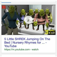 TOYS  5:01  5 Little SHREK Jumping On The  Bed Nursery Rhymes for  YouTube  https://m.youtube.com watch Wonderful memes
