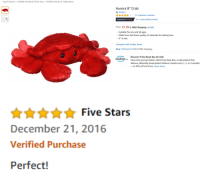 "Customer Reviews: Toys & Games Stuffed Animals & Plush Toys Stuffed Animals & Teddy Bears  Aurora 8"" Crab  by Aurora  Ann11 customer reviews  Amazon's Choice  for ""crab stuffed animal""  Price: $7.09 & FREE Shipping. Details  Suitable for any and all ages.  Made from the finest quality of materials for lasting love.  8"" in size.  Compare with similar items  New (14) from $7.09 &FREE shipping  prime  Discover Prime Book Box for Kids  pok boxi  Story time just got better with Prime Book Box, a subscription that  delivers editorially hand-picked children's books every 1, 2, or 3 months  at 40% off List Price. Learn more   Five Stars  December 21, 2016  Verified Purchase  Perfect!"