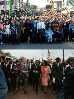 Obama, Selma, Alabama, and Mlk: TPNC  BAN Obama and MLK Jr. lead people on a march through Selma, 50 years apart.