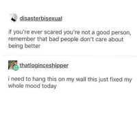 Bad, Mood, and Good: tr  disasterbisexual  if you're ever scared you're not a good person,  remember that bad people don't care about  being better  thatloginceshipper  i need to hang this on my wall this just fixed my  whole mood today Wholesome Reminder - You Are Good