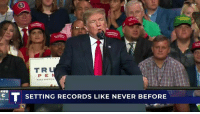 Never, Economy, and Records: TR  PE  T SETTING RECORDS LIKE NEVER BEFORE Just last week, it was announced that the U.S. economy grew at 4.1%. We are setting records like never before! We are RESPECTED again!