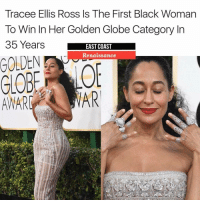 Get into it! TraceeEllisRoss 🙌🏾😍✨ @traceeellisross GoldenGlobes blackmagic repost @ecrenaissance Ross, who won the award for Best Performance by an Actress in a Television Series (musical or comedy) for her role in Black-ish (@blackishabc), is the first black woman to win in that category since 1983.: Tracee Ellis Ross Is The First Black Woman  To Win In Her Golden Globe Category In  35 Years  EAST COAST  Renaissance  AR  AWARE Get into it! TraceeEllisRoss 🙌🏾😍✨ @traceeellisross GoldenGlobes blackmagic repost @ecrenaissance Ross, who won the award for Best Performance by an Actress in a Television Series (musical or comedy) for her role in Black-ish (@blackishabc), is the first black woman to win in that category since 1983.