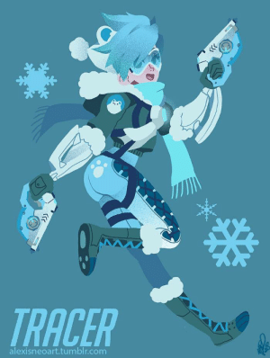 Tumblr, Winter, and Bear: TRACER  alexisneoart.tumblr.com alexisneoart:Polar-bear themed Winter Wonderland Tracer skin!