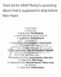 Frank Ocean, Graffiti, and Lenny: Track list for A$AP Rocky's upcoming  album that is supposed to drop before  New Years  1. On A Cloud  2. Pretty Guy  3. Body (Feat. The Weeknd)  4. Lord Pretty Flacko Jodye 3 (LPFJ3)  5. Graffiti (Feat. ScHoolboy Q)  6. Wok  7. Flying Colors (Feat. 2 Chainz & Travis Scott)  8. Ignant & Winning  9. Sober Interlude  10. Self Portrait (Feat. Tyler The Creator & Pharrell)  11. Light Switch  12. Ever Since Then  13. Flooded Over (Feat. Lenny Kravitz & Mos Detf)  14. Villain (Feat. FKA Twigs)  15. Melting Pot (Feat. Devonte Hynes & Steve Lacy)  16. Darkside  17. Crash (Feat. Frank Ocean) Where it at asaprocky 🧐🤔