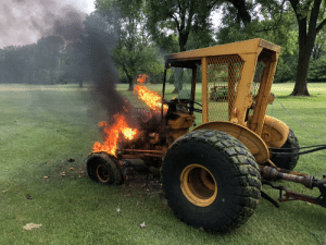 Tractor caught fire at work: Tractor caught fire at work