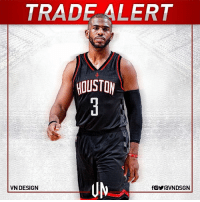 TRADEALERT Chris Paul has been traded to the Houston Rockets in exchange for Patrick Beverley, Sam Decker, Lou Williams and a 2018 first round pick, according to Adrian Wojnarowski. VNdesign: TRAD ALERT  HOUSTON  VN DESIGN TRADEALERT Chris Paul has been traded to the Houston Rockets in exchange for Patrick Beverley, Sam Decker, Lou Williams and a 2018 first round pick, according to Adrian Wojnarowski. VNdesign