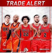 Chicago, Chicago Bulls, and Doug: TRADE ALERT  22  UN  VN DESIGN #TRADEALERT  Oklahoma City Thunder get: Doug McDermott, Taj Gibson and a 2018 2nd-round pick  Chicago Bulls get: Cameron Payne, Joffrey Lauvergne & Anthony Morrow  #VNdesign