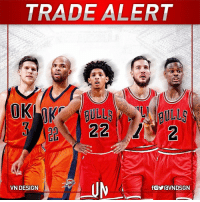 Chicago, Chicago Bulls, and Doug: TRADE ALERT  A  OK  22  22  M ni--Jy-fowavN DSGN  VN DESIGN  fGVravN DSGN  e  (2  のS TRADEALERT Oklahoma City Thunder get: Doug McDermott, Taj Gibson and a 2018 2nd-round pick Chicago Bulls get: Cameron Payne, Joffrey Lauvergne & Anthony Morrow VNdesign