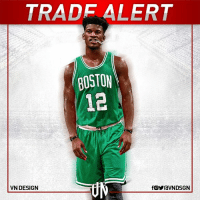 Boston Celtics, Chicago, and Chicago Bulls: TRADE ALERT  BOSTON  VN DESIGN  fOYraVNDSGN The Chicago Bulls​ and Boston Celtics​ have engaged in trade talks about Jimmy Butler​, according to Adrian Wojnarowski.  #VNdesign
