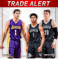 TRADEALERT Brooklyn Nets acquired D'Angelo Russell & Timofey Mozgov LA Lakers acquired Brook Lopez & the 27th pick VNdesign: TRADE ALERT  DESIGN  VN fOYravNDSG TRADEALERT Brooklyn Nets acquired D'Angelo Russell & Timofey Mozgov LA Lakers acquired Brook Lopez & the 27th pick VNdesign