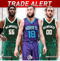 Memes, Milwaukee Bucks, and Charlotte: TRADE ALERT  HORNETS  SS  I I  VN DESIGN  fOYravNDSG The Milwaukee Bucks have reached a deal to acquire big men Roy Hibbert and Spencer Hawes from the Charlotte Hornets in exchange for Miles Plumlee.  #VNdesign