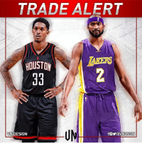 Houston Rockets, Memes, and Houston: TRADE ALERT  HOUSTON  EKERS  BVNDESIGN  f。yravN DSGN  る  舟 TRADEALERT The Houston Rockets are sending Corey Brewer and a 1st-round pick to the LA Lakers for Lou Williams, according to Adrian Wojnarowski. VNdesign