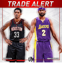 #TRADEALERT  The Houston Rockets are sending Corey Brewer and a 1st-round pick to the LA Lakers for Lou Williams, according to Adrian Wojnarowski.  #VNdesign: TRADE ALERT  HOUSTON  VN DESIGN #TRADEALERT  The Houston Rockets are sending Corey Brewer and a 1st-round pick to the LA Lakers for Lou Williams, according to Adrian Wojnarowski.  #VNdesign