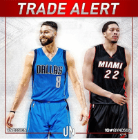 TRADEALERT The Miami Heat have traded Josh McRoberts, a 2023 2nd-round pick, and cash to the Dallas Mavericks for A. J. Hammons. VNdesign: TRADE ALERT  MIAMI  UALLAS TRADEALERT The Miami Heat have traded Josh McRoberts, a 2023 2nd-round pick, and cash to the Dallas Mavericks for A. J. Hammons. VNdesign
