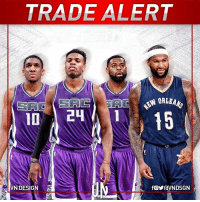 DeMarcus Cousins, Future, and Memes: TRADE ALERT  SAC  SA  VN DESIGN  RC  AC #TRADEALERT  Sacramento Kings get: Buddy Hield, Tyreke Evans, Langston Galloway and a future 1st-round & 2nd-round pick.  New Orleans Pelicans: DeMarcus Cousins  #VNdesign