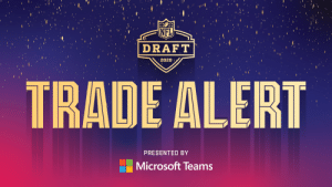 TRADE ALERT  The @49ers trade up for the 25th overall pick via the @Vikings.  (presented by @MicrosoftTeams) https://t.co/cCDXRXsNUO: TRADE ALERT  The @49ers trade up for the 25th overall pick via the @Vikings.  (presented by @MicrosoftTeams) https://t.co/cCDXRXsNUO