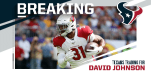 TRADE: Cardinals trading RB David Johnson to Texans. (via @rapsheet) https://t.co/J1Xgylpt4b: TRADE: Cardinals trading RB David Johnson to Texans. (via @rapsheet) https://t.co/J1Xgylpt4b