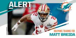TRADE: Dolphins acquiring 49ers RB Matt Breida for a fifth-round pick. (via @Rapsheet) https://t.co/yiDRdFUuAJ: TRADE: Dolphins acquiring 49ers RB Matt Breida for a fifth-round pick. (via @Rapsheet) https://t.co/yiDRdFUuAJ