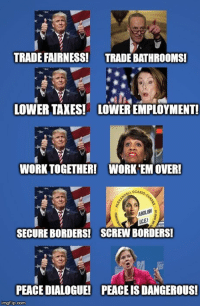 Politics, Taxes, and Work: TRADE FAIRNESS  TRADE BATHROOMS!  LOWER TAXES! LOWER EMPLOYMENT  WORK TOGETHER!  WORK'EM OVER!  RAOCASto  ICE!  SECURE BORDERS!  SCREW BORDERS!  PEACE DIALOGUE!  PEACE IS DANGEROUS!  imgflip.com