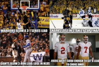 Bay Area Sports..: trade  ING  NATIO  NY 30  EN  WARRIORSBLOWA 3-1 SERIES LEAD STANLEY CUP FINAL  49ERS ARENT GOOD ENOUGH TO GETALEAD  GIANTS BLOW 3-RUN LEAD, LOSE IN NLDS  TO CHOKE AWAY Bay Area Sports..