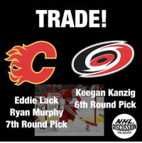 Eddie Lack is headed to Calgary to platoon with Mike Smith. Murphy was drafted 12th overall by the Hurricanes in 2011, but has struggled to make much of an impact at the NHL level, spending time in the AHL in each of the past five seasons. Kanzig was a 2013 3rd Round Pick, and the Hurricanes have retained 50% of Lack's contract. Good luck in Calgary, @eddiethestork Hurricanes Flames NHLDiscussion Lack Trade: TRADE!  Keegan Kanzig  6th Round Pick  Eddie Lack  Ryan Murphy  7th Round Pick  OISCUSSION  NHLDISCUSSION Eddie Lack is headed to Calgary to platoon with Mike Smith. Murphy was drafted 12th overall by the Hurricanes in 2011, but has struggled to make much of an impact at the NHL level, spending time in the AHL in each of the past five seasons. Kanzig was a 2013 3rd Round Pick, and the Hurricanes have retained 50% of Lack's contract. Good luck in Calgary, @eddiethestork Hurricanes Flames NHLDiscussion Lack Trade