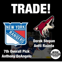 Memes, New York, and Rangers: TRADE!  NEW YORK  Derek Stepan  Antti Raanta  7th Overall Pick  Anthony DeAngelo  DISCUSSION  ONHLDISCUSSION The Coyotes have just received a FIRST LINE CENTER, AND A STARTING GOALIE! Big return including a great young prospect Anthony DeAngelo, and the 7th Overall Pick for tonight. DeAngelo Stepan Rangers Coyotes NHLDiscussion Trade