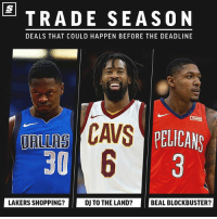 Crazy NBA trades that could happen before the deadline [LINK IN BIO] 👀 sponsored via @theScore: TRADE SEASON  DEALS THAT COULD HAPPEN BEFORE THE DEADLINE  AS PELICANS  ORLLRS  30  LAKERS SHOPPING?  DJ TO THE LAND?  BEAL BLOCKBUSTER? Crazy NBA trades that could happen before the deadline [LINK IN BIO] 👀 sponsored via @theScore