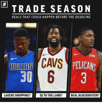 Exciting NBA trades that could happen before the deadline [LINK IN BIO] 👀 sponsored via @theScore: TRADE SEASON  DEALS THAT COULD HAPPEN BEFORE THE DEADLINE  CAVS  30  DRIRS AYPELICANS  LAKERS SHOPPING?  DJ TO THE LAND?  BEAL BLOCKBUSTER? Exciting NBA trades that could happen before the deadline [LINK IN BIO] 👀 sponsored via @theScore