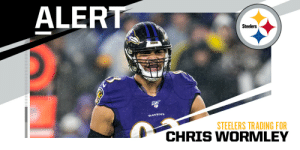 TRADE: Steelers acquire DL Chris Wormley, 2021 7th-round pick from Ravens for 2021 5th-round pick. (via @TomPelissero) https://t.co/lrvRafM1F8: TRADE: Steelers acquire DL Chris Wormley, 2021 7th-round pick from Ravens for 2021 5th-round pick. (via @TomPelissero) https://t.co/lrvRafM1F8