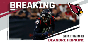 TRADE: Texans trading DeAndre Hopkins to the Cardinals. (via @Rapsheet) https://t.co/KrRV09Sd9c: TRADE: Texans trading DeAndre Hopkins to the Cardinals. (via @Rapsheet) https://t.co/KrRV09Sd9c