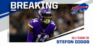TRADE: Vikings trading WR Stefon Diggs to Buffalo Bills. (via @TomPelissero) https://t.co/BNnlUSp5U4: TRADE: Vikings trading WR Stefon Diggs to Buffalo Bills. (via @TomPelissero) https://t.co/BNnlUSp5U4