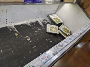 Trader Joe's frozen section. All that's left is Broccoli and Kale pizza.: Trader Joe's frozen section. All that's left is Broccoli and Kale pizza.